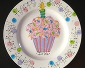 Hand Painted Personalized Birthday Plate - Pastel Colorful Cupcake