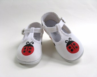 Girls White T Strap Ladybug Shoes, Cotton Canvas, Ladybird Outfit, Ladybug Birthday Party, Hand Painted for Baby and Toddlers