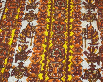 vintage 70s textured cotton fabric, featuring amazing polynesian design, 1 yard, 30 inches