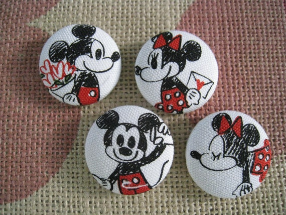 1 1/8 inch fabric cover sew on buttons - Mickey and Minnie - set of  4