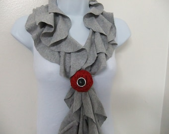 Ruffled T Shirt Jersey Scarf Lightweight W/Removable Pin/Bracelet - Holiday Gift