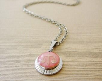 Vintage .. Charm Necklace, Libra Horoscope pendant Silvertone Chain