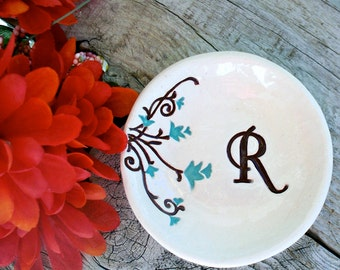 Floral Monogrammed Ring Dish - Personalized Jewelry Dish Makes a Unique Gift for Bridesmaids, Maids of Honor and Flower Girls