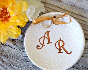 Custom Ring Bearer Bowl - Monogram Dish, Personalized Ring Pillow Alternative, Textured Wedding Ring Holder, Ring Warming Ceremony