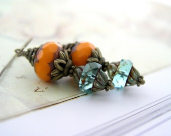 Orange and turquoise dangle earrings, oxidized brass vintage style, picasso glass jewelry, twisted, by antigonidesigns