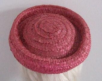 straw hat . pink straw hat . raspberry Straw topper . 50s straw topper
