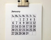 2013 Letterpress  Calendar with vintage clip for hanging