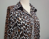 Vintage Leopard Print Nylon Robe, House Coat 1970s Butterfield 8 Inc.