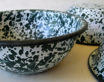 3 Green Graniteware Enamelware Bowls Set of 3