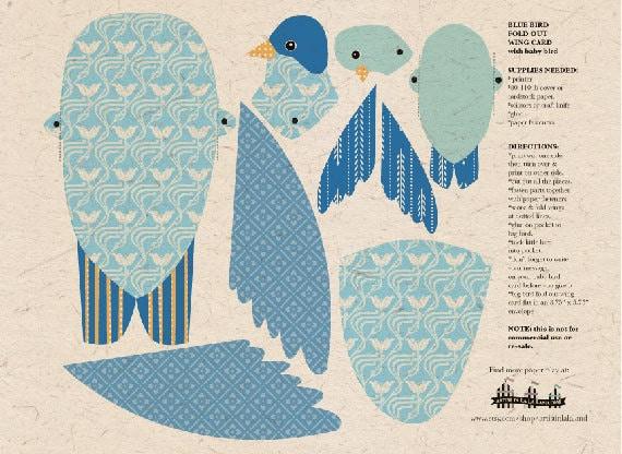 DIY Mom  Baby Blue Bird Printable PDF Fold by ArtistInLALALand