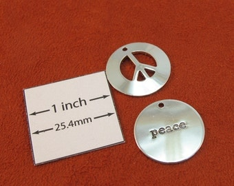 Silver Metal 20mm Round Peace and Peace Sign Pendants, Set of 2, 1088-12