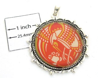 Yellow and Red Bird Graphic, Antiqued Silver Frame, 40mm Round Pendant, 1090-05