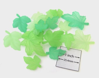 Frosted Green Lucite Three Sizes LEAF charms, beads, Sold per 18 pc, 1009-29