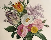 A Bouquet of Flowers - Botanical Illustration - 19th Century Floral Painting - Spring Summer Tulips Lilacs Peonies - AngelGrace