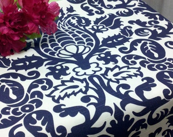 TABLECLOTH COLORS SIZES Damask Navy blue, gray,  yellow, teal/turquoise, lime and white Amsterdam damask Wedding Bridal