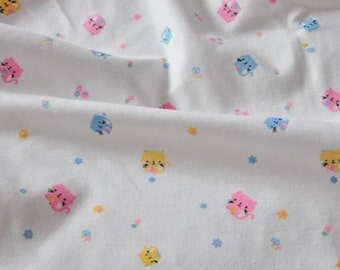 3302 - Colorful Cat Flower Cotton Jersey Knit Fabric - 70 Inch (Width) x 1/2 Yard (Length)