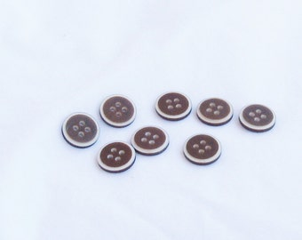 buttons, vintage buttons, brown, white edge, half inch, 8 each, C, destash