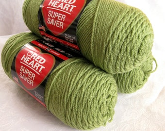Red Heart Super Saver yarn, TEA LEAF Green yarn, worsted weight yarn,  624
