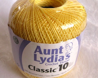 Aunt Lydias Classic Crochet cotton Thread, MAIZE yellow, size 10, (423)
