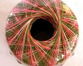 Aunt Lydias Classic Crochet Cotton Thread, PINK CAMO, size 10, shades of peach pink cream green