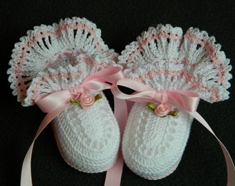 Christening Baby Booties, Crochet Baby Booties, Crochet White Booties, Newborn Baby Girl, Baby Girl Booties, Baptism, Baby Shower
