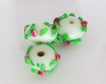 Pretty and Petite White with Pink Rosebuds Rondelle - Set of Three Lampwork