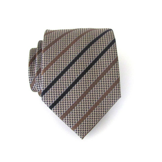 necktie navy blue and taupe brown stripes silk tie by