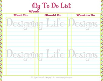 To Do List Printable - Must, Should, Want to Do Checklist - Designer PDF