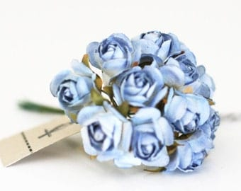 36 Blue Millinery Vintage Style Paper Roses Flowers