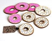 Sale! Donut Brooch, Pink Donut, Handmade Wooden Brooch, Laser Cut Birch Wood, Made in uk