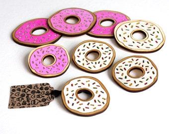 SALE!! Donut Brooch, Pink Donut, Handmade Wooden Brooch, Laser Cut Birch Wood, Made in uk