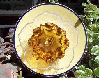 """Garden Yard Art Glass Flower - """"Smile"""""""