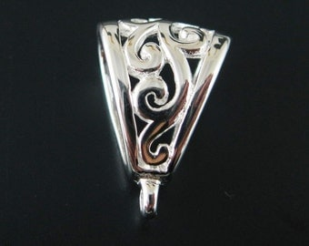 Sterling silver Bail , 925 Sterling Silver Fancy Pendant Bail Connector ( 18 mm ) - SKU: 219008