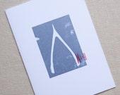 Wishbone silver Letterpress card