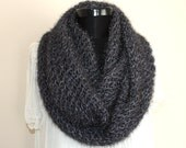 Charcoal Sparkly Fantasy Large Loop Scarf, Infinity Cowl, Loop Scarf - Gift Idea - Ready to Ship