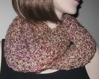 SALE!  Crochet Homespun Infinity Scarf Cowl in Quartz