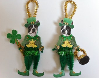 St. PATRICK'S Day Boston Terrier LEPRECHAUN vintage style chenille ORNAMENTS set of 2