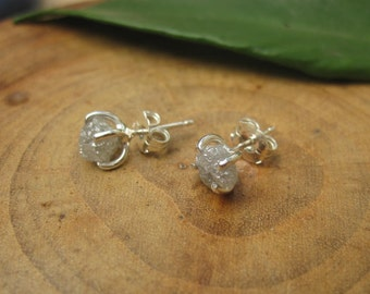 Diamond Sterling Silver Earrings Stud Natural 1.5 Plus Carat Uncut Rough  Prong April Birthstone