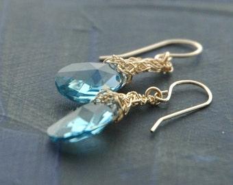 Baby Blue Crystal Earrings ,  gold filled crochet earrings ,  bridal jewelry , March birthstone , long dangle earrings , bridesmaids gifts