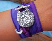 Moon Jewelry, Silk Wrap Bracelet, Sun and Moon Jewelry, STERLING SILVER Sun jewelry, Sun and Moon Silk Wrap Bracelet, Celestial Jewelry
