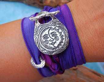 Moon Jewelry, Silk Wrap Bracelet, Sun and Moon Jewelry, STERLING SILVER Sun jewelry, Sun and Moon Silk Wrap Bracelet, Celestial Jewelry