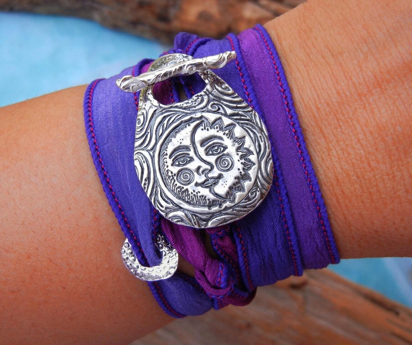 moon jewelry silk wrap bracelet sun and moon jewelry