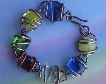 Vintage 80s Artisan Bracelet Art Glass Silver Wire