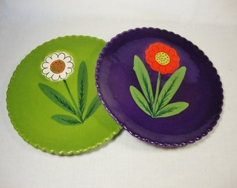 flower plates midcentury italy green and purple pottery wall decor display