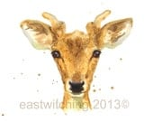Young Stag, stag art, woodland creatures, woodland decor, stag painting, boys wall art