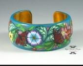 Polymer Clay Rousseau Bracelet (Blue Floral)