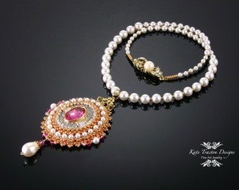 Anastasia Pendant, Bead Embroidery, Pink, Gold, Pearl