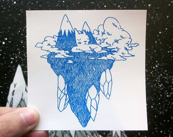 Floating Island Cat Sticker