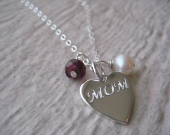 Sterling Silver MOM Heart Charm Necklace- Garnet, Freshwater Pearl,