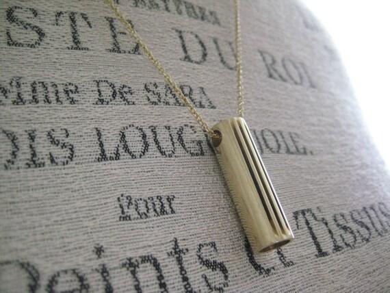 Brass Tube Necklace, Brass, Vintage, Industrial